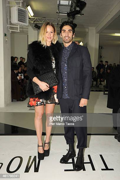 Federica Pellegrini and Filippo Magnini attend the MSGM show as a part of Milan Fashion Week Menswear Autumn/Winter 2014 on January 11 2014 in Milan...