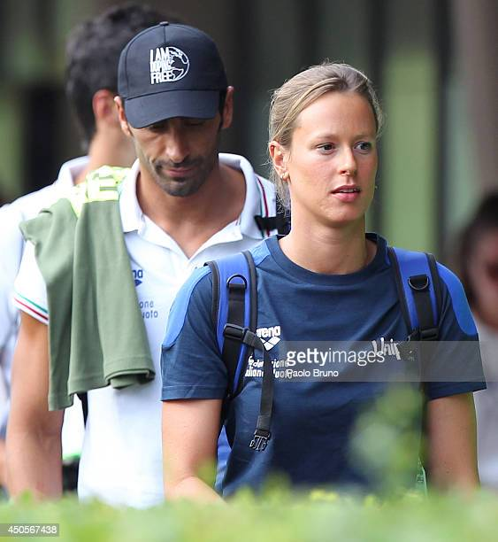 Federica Pellegrini and Filippo Magnini of Italy look on during the International Settecolli Trophy at Piscine del Foro Italico on June 13 2014 in...