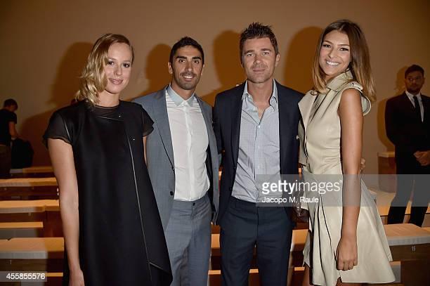 Federica Pellegrini Filippo Magnini Fabio Fulco and Cristina Chiabotto attend the Salvatore Ferragamo show during the Milan Fashion Week Womenswear...