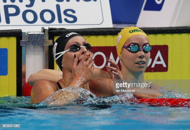 Federica Pellegrini of Italy celebrates after she wins the Women's 200m Breaststroke final during day thirteen of the FINA World Championships at the...