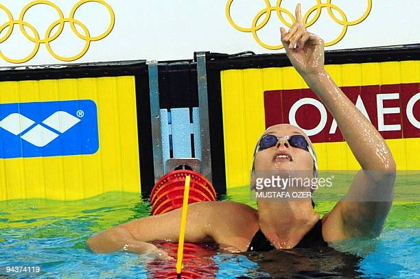 Federica Pellegrini of Italy celebrates after winning the women's 200m Freestyle final at the Europe shortcourse championships in Istanbul on...