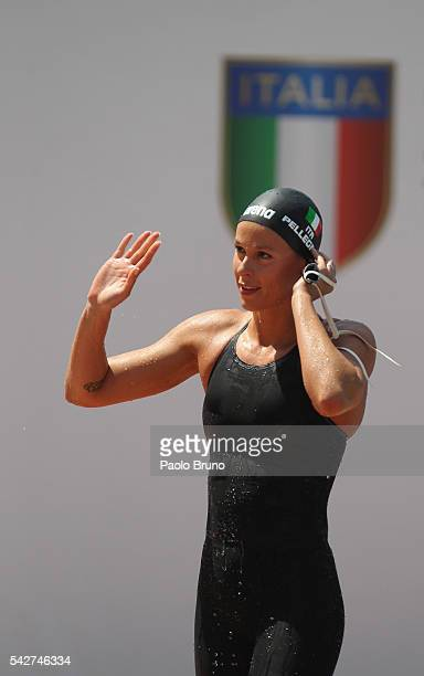 Federica Pellegrini of Italy reacts after competing in the Women's 50m Freestyle heats during the 53rd 'Sette Colli' International Swimming Trophy at...