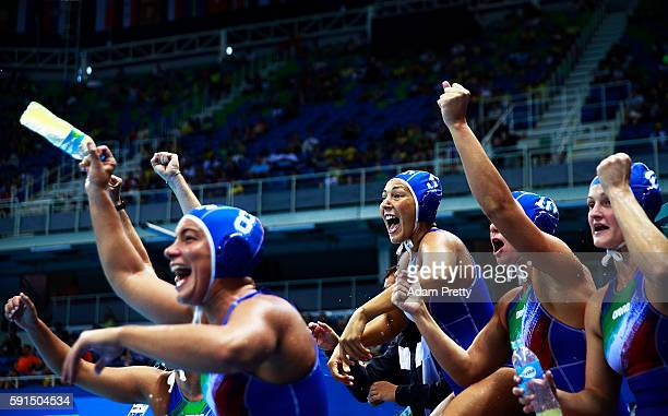 Federica Radicchi of Italy reacts with passion during the Water Polo semi final match between Italy and Russia at Olympic Aquatics Stadium on August...