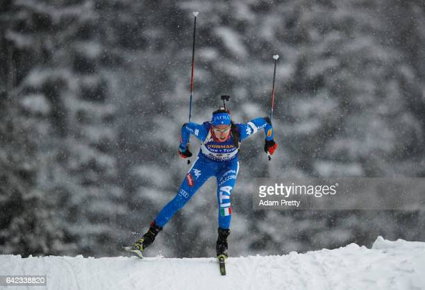 Federica Sanfilippo of Italy in action during the Women's 4x 6km relay competition of the IBU World Championships Biathlon 2017 at the Biathlon...