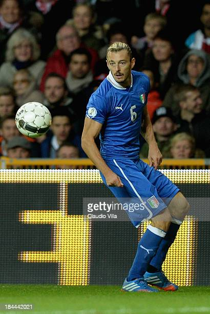 Federico Balzaretti of Italy in action during the FIFA 2014 world cup qualifier between Denmark and Italy on October 11 2013 in Copenhagen Denmark