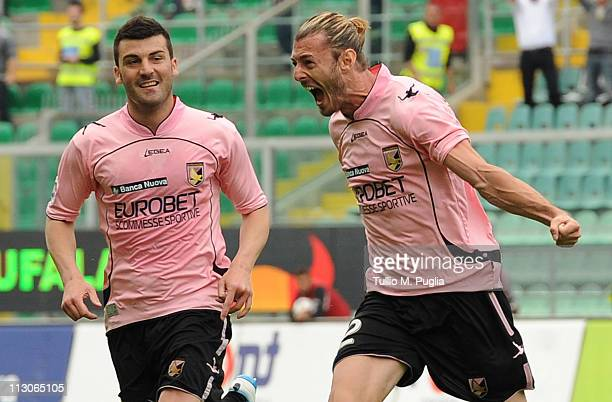 Federico Balzaretti of Palermo celebrates with Cesare Bovo after scoring the equalizing goal during the Serie A match between US Citta di Palermo and...