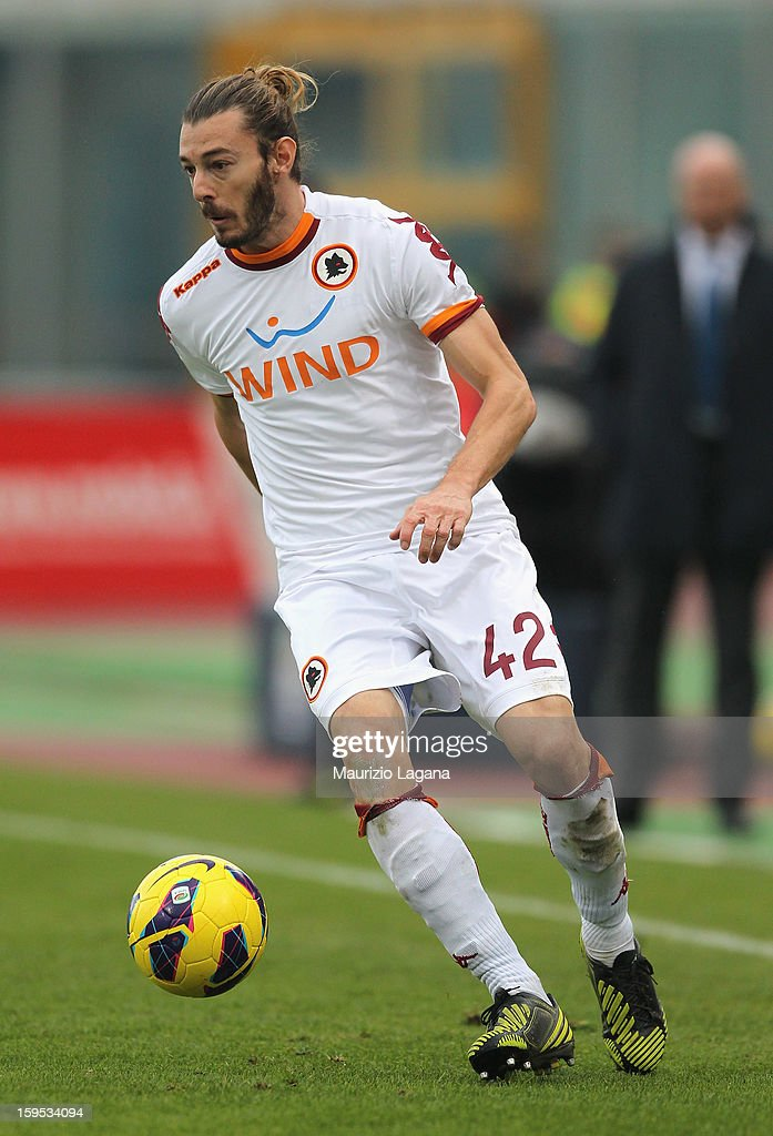 <a gi-track='captionPersonalityLinkClicked' href=/galleries/search?phrase=Federico+Balzaretti&family=editorial&specificpeople=686070 ng-click='$event.stopPropagation()'>Federico Balzaretti</a> of Roma during the Serie A match between Calcio Catania and AS Roma at Stadio Angelo Massimino on January 13, 2013 in Catania, Italy.