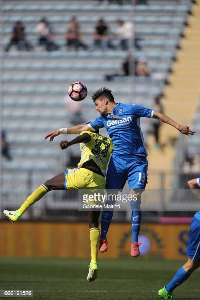 Federico Barba of Empoli Fc battles for the ball with Mamadou Coulibaly of Pescara Calcio during the Serie A match between Empoli FC and Pescara...