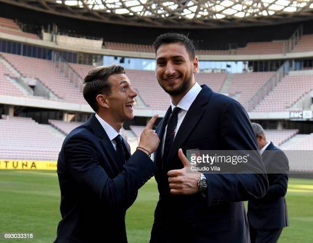 Federico Bernardeschi and Gianluigi Donnarumma of Italy pose for a photo during Italy walk around at Allianz Riviera Stadium on June 6 2017 in Nice...