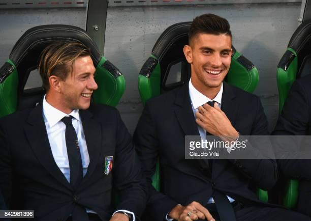 Federico Bernardeschi and Lorenzo Pellegrini of Italy arrives prior to the FIFA 2018 World Cup Qualifier between Italy and Israel at Mapei Stadium...