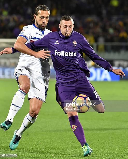 Federico Bernardeschi and Matias Silvestre during the Serie A match between ACF Fiorentina and UC Sampdoria at Stadio Artemio Franchi on November 6...