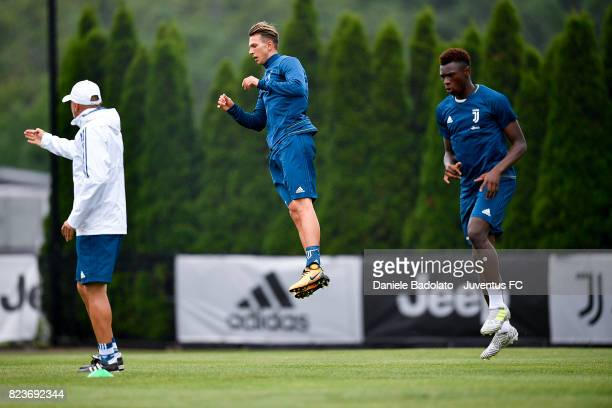 Federico Bernardeschi and Moise Bioty Kean of Juventus FC during the afternoon training session on July 27 2017 in Boston Massachusetts