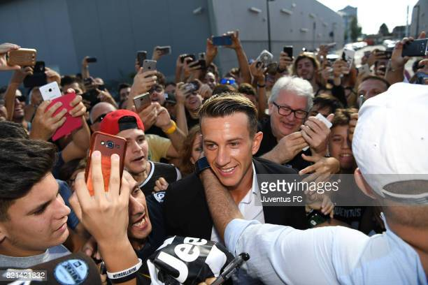 Federico Bernardeschi arrives for his medical tests at J medical on July 24 2017 in Turin Italy