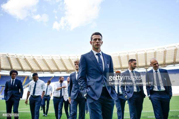 Federico Bernardeschi during the Juventus Walk Around ahead of the Italian Supercup at Olimpico Stadium on August 12 2017 in Rome Italy