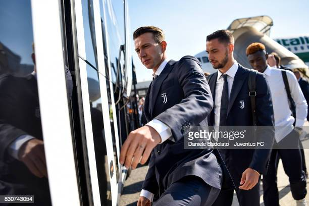 Federico Bernardeschi during the travel to Rome ahead of the Italian Supercup at on August 12 2017 in Turin Italy