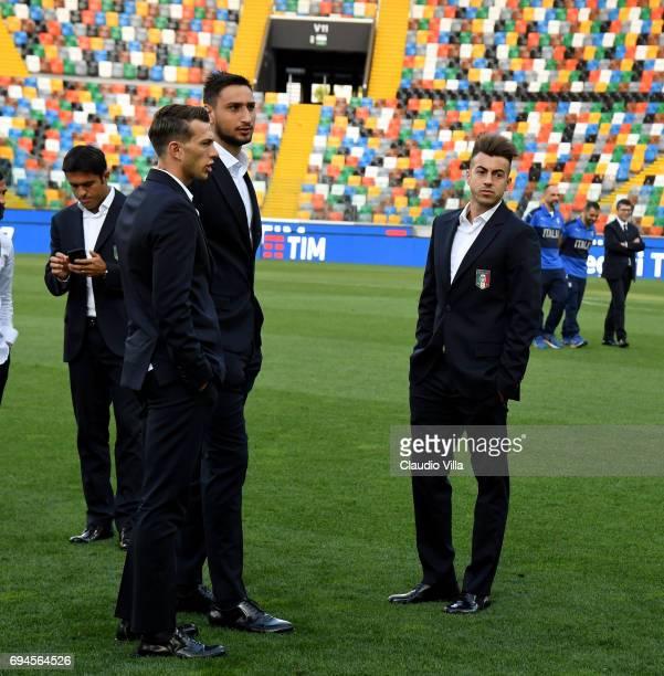 Federico Bernardeschi Gianluigi Donnarumma and Stephan El Shaarawy of Italy look on during Italy walk around at Stadio Friuli on June 10 2017 in...