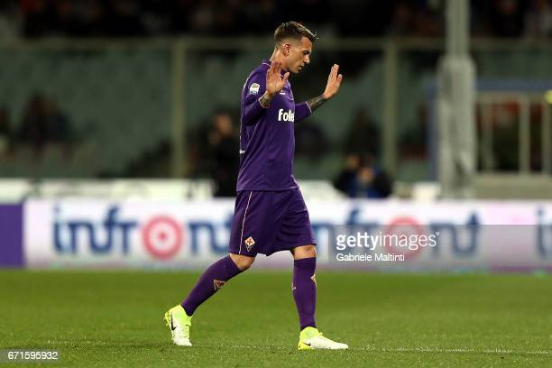 Federico Bernardeschi of ACF Fiorentina apologizes for the wrong penalty during the Serie A match between ACF Fiorentina v FC Internazionale at...
