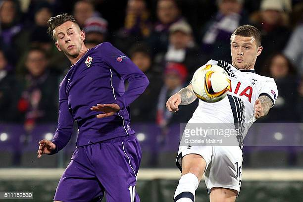 Federico Bernardeschi of ACF Fiorentina battles for the ball with Kieran Trippier of Tottenham Hotspur during the UEFA Europa League Round of 32...