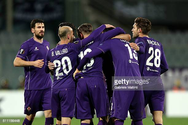 Federico Bernardeschi of ACF Fiorentina celebrates after scoring a goal during the UEFA Europa League Round of 32 first leg match between Fiorentina...