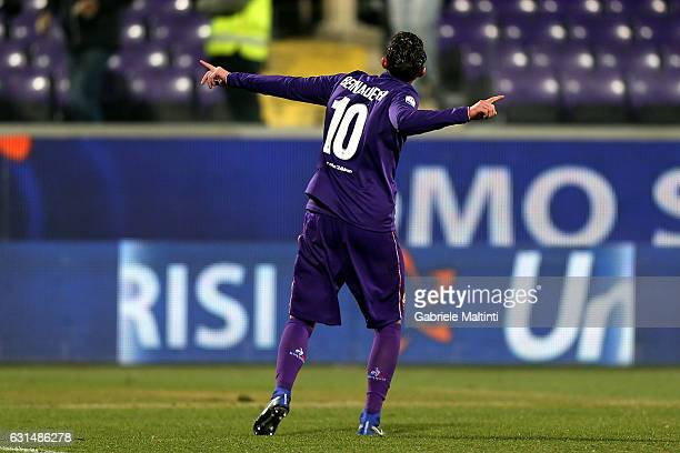 Federico Bernardeschi of ACF Fiorentina celebrates after scoring a goal during the TIM Cup match between ACF Fiorentina and AC ChievoVerona at Stadio...