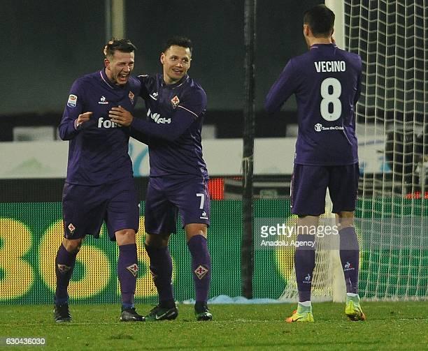 Federico Bernardeschi of Acf Fiorentina celebrates his goal during the Italian Serie A soccer match between ACF Fiorentina and SSC Napoli at Stadio...