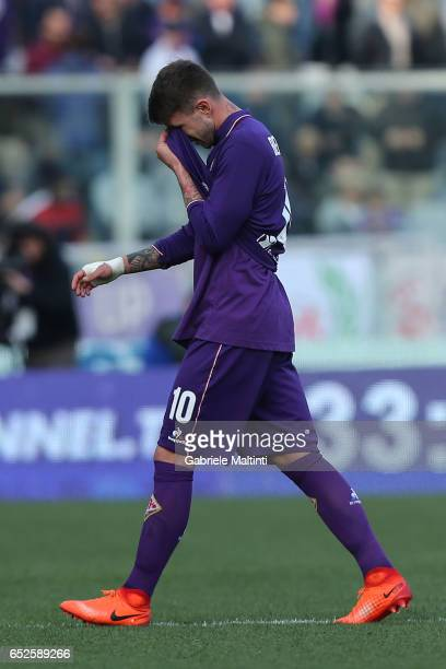 Federico Bernardeschi of ACF Fiorentina reacts during the Serie A match between ACF Fiorentina and Cagliari Calcio at Stadio Artemio Franchi on March...