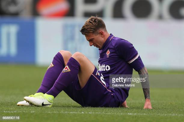 Federico Bernardeschi of ACF Fiorentina reacts during the Serie A match between ACF Fiorentina and Empoli FC at Stadio Artemio Franchi on April 15...
