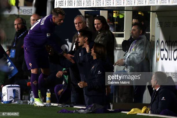 Federico Bernardeschi of ACF Fiorentina reacts during the Serie A match between ACF Fiorentina v FC Internazionale at Stadio Artemio Franchi on April...