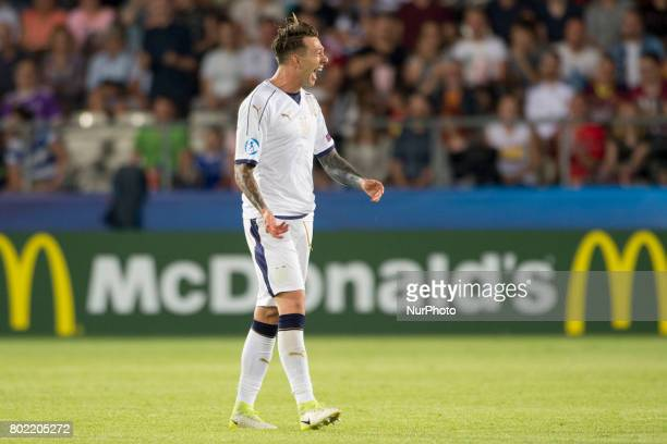 Federico Bernardeschi of Italy celebrates after his goal during the UEFA European Under21 Championship SemiFinal match between Spain and Italy at...