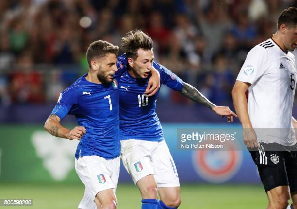 Federico Bernardeschi of Italy celebrates after scoring to 10 together with Domenico Berardi of Italyduring the UEFA U21 championship match between...
