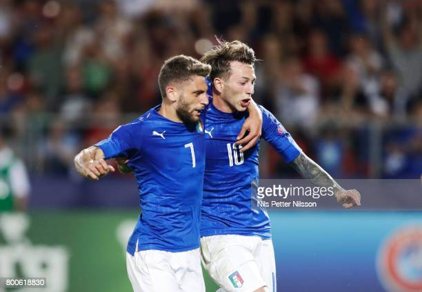 Federico Bernardeschi of Italy celebrates after scoring to 10 together with Domenico Berardi of Italy during the UEFA U21 championship match between...