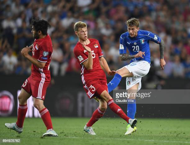 Federico Bernardeschi of Italy celebrates scores the fourth goal during the FIFA 2018 World Cup Qualifier between Italy and Liechtenstein at Stadio...