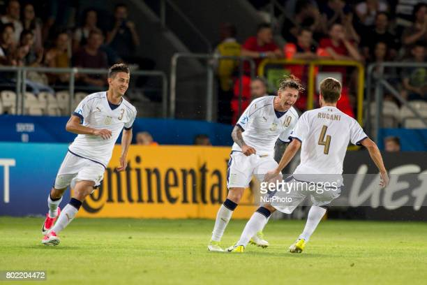 Federico Bernardeschi of Italy celebrates scoring during the UEFA European Under21 Championship SemiFinal match between Spain and Italy at Krakow...
