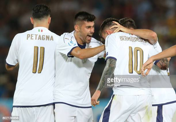 Federico Bernardeschi of Italy celebrates with teammates after scoring his side's first goal during their UEFA European Under21 Championship 2017...