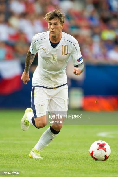 Federico Bernardeschi of Italy controls the ball during the UEFA European Under21 Championship 2017 Group C between Czech Republic and Italy at Tychy...