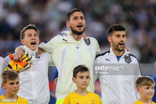Federico Bernardeschi of Italy Goalkeeper Gianluigi Donnarumma of Italy Marco Benassi of Italy during the UEFA U21 championship match between Italy...