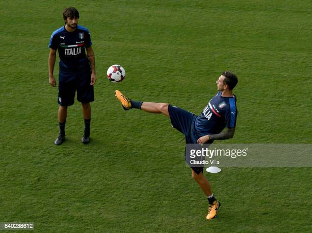 Federico Bernardeschi of Italy in action during a training session at Coverciano on August 28 2017 in Florence Italy