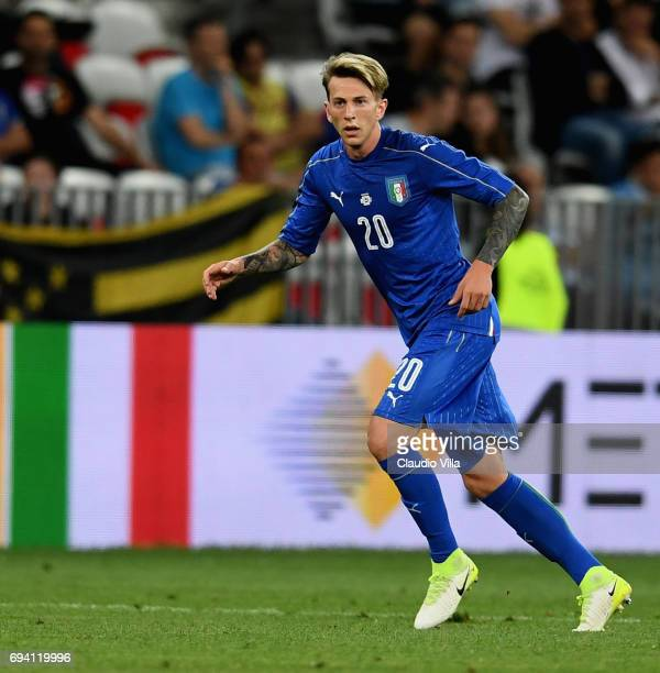 Federico Bernardeschi of Italy in action during the International Friendly match between Italy and Uruguay at Allianz Riviera Stadium on June 7 2017...