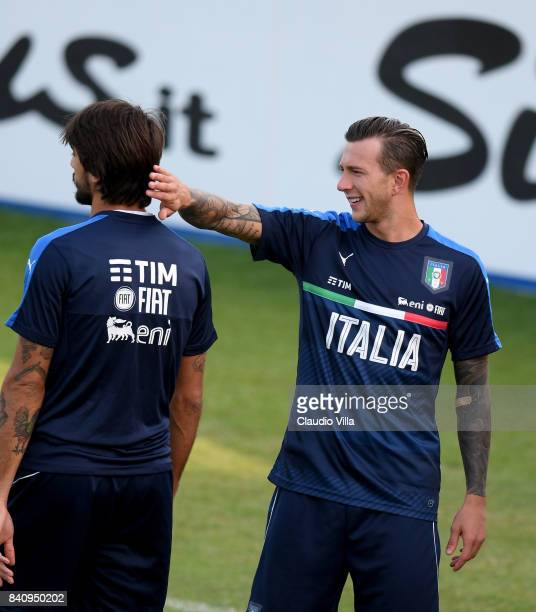Federico Bernardeschi of Italy reacts during the training session at Coverciano on August 30 2017 in Florence Italy