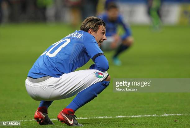 Federico Bernardeschi of Italy shows his dejection at the end of the FIFA 2018 World Cup Qualifier PlayOff Second Leg between Italy and Sweden at San...