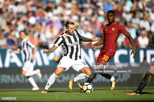 Federico Bernardeschi of Juventus and Gerson of Roma in action during the International Champions Cup 2017 match between AS Roma and Juventus at...
