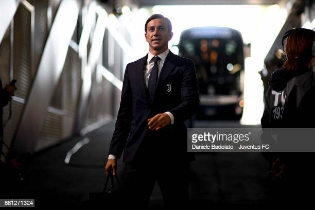 Federico Bernardeschi of Juventus arrives at Allianz Stadium before the Serie A match between Juventus and SS Lazio on October 14 2017 in Turin Italy