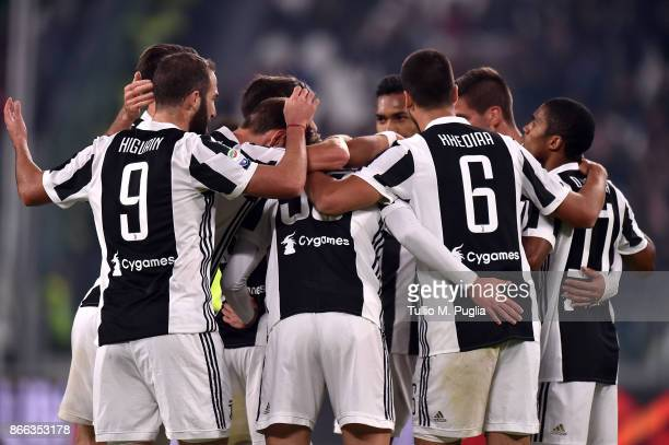 Federico Bernardeschi of Juventus celebrates after scoring the opening goal during the Serie A match between Juventus and Spal on October 25 2017 in...