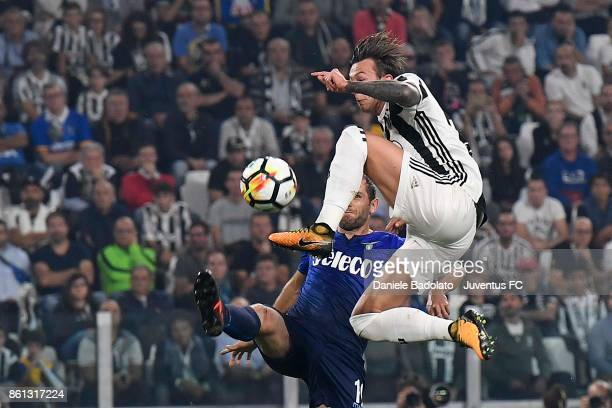 Federico Bernardeschi of Juventus competes for the ball during the Serie A match between Juventus and SS Lazio on October 14 2017 in Turin Italy