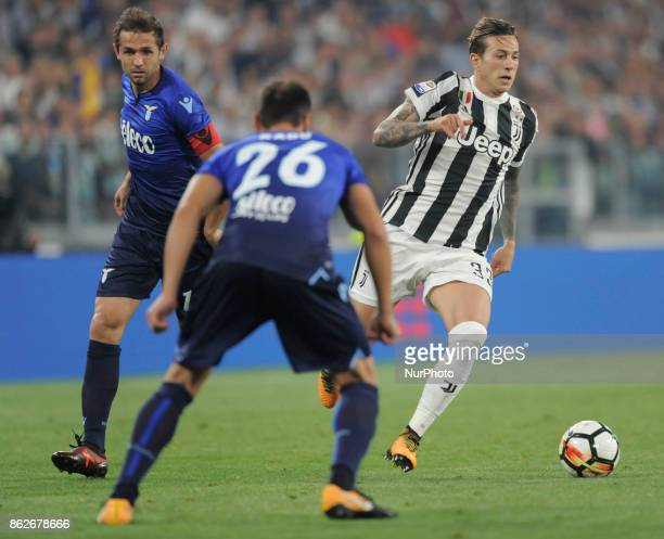 Federico Bernardeschi of Juventus player Senad Lulic of Lazio player and Stefan Radu of Lazio player during the match valid for Italian Football...