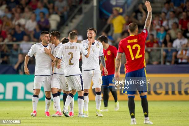 Federico Bernardsechi of Italy celebrates scoring during the UEFA European Under21 Championship SemiFinal match between Spain and Italy at Krakow...