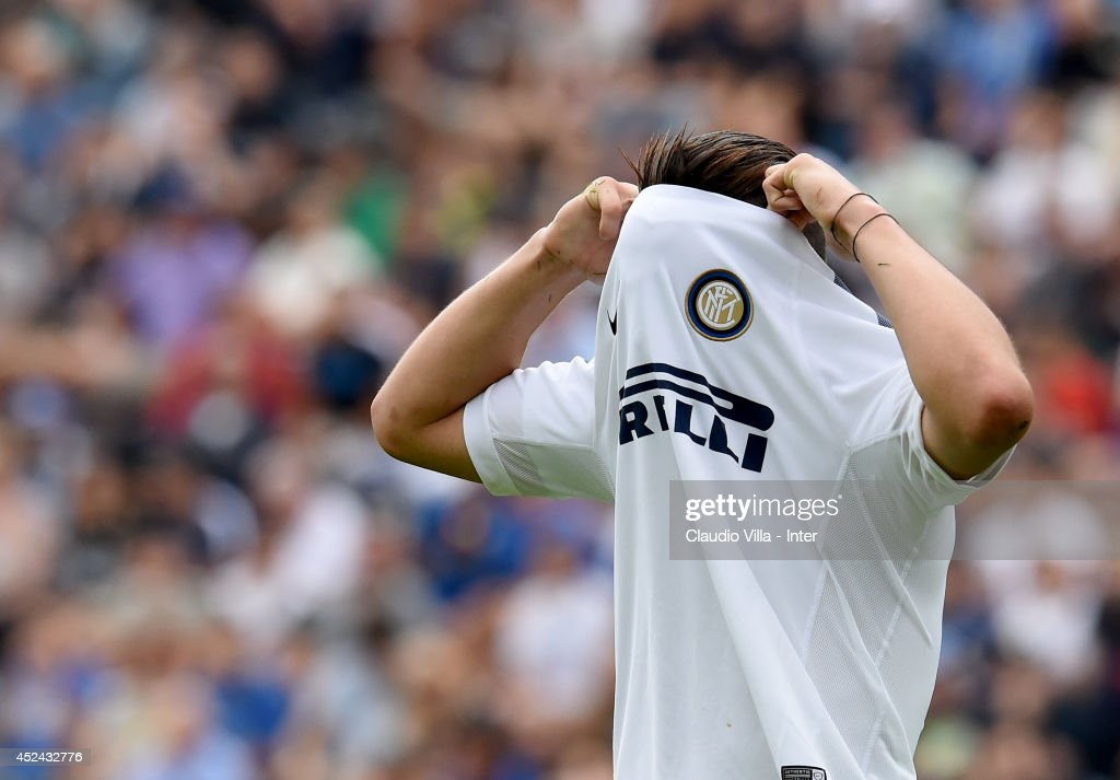 <a gi-track='captionPersonalityLinkClicked' href=/galleries/search?phrase=Federico+Bonazzoli&family=editorial&specificpeople=12488426 ng-click='$event.stopPropagation()'>Federico Bonazzoli</a> dejected during the pre-season friendly match between FC Internazionale and AC Prato on July 20, 2014 in Pinzolo near Trento, Italy.