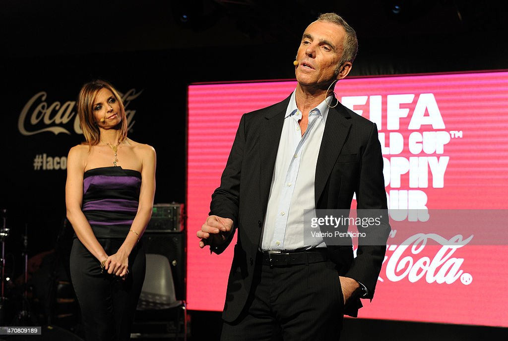 Federico Buffa and Cristiana Buonamano attend a party during day two of the FIFA World Cup Trophy Tour on February 20, 2014 in Rome, Italy.