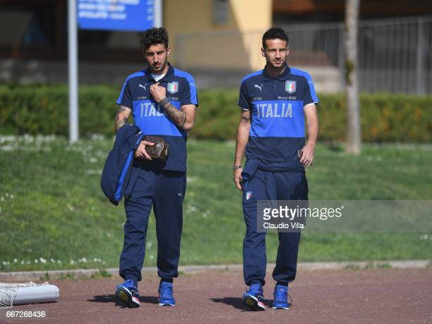 Federico Ceccherini and Gian Marco Ferrari of Italy chat prior to the training session at the club's training ground at Coverciano on April 11 2017...