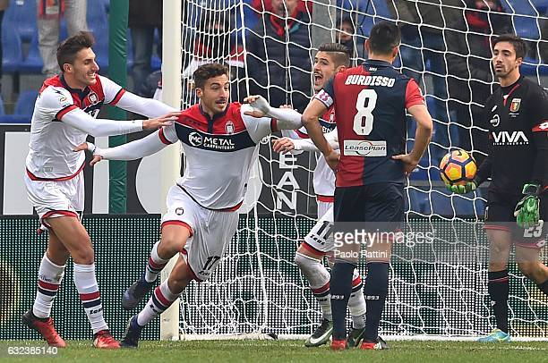 Federico Ceccherini of Crotone celebrates with teammates Mario Sampirisi and Diego Falcinelli after scoring a goal during the Serie A match between...